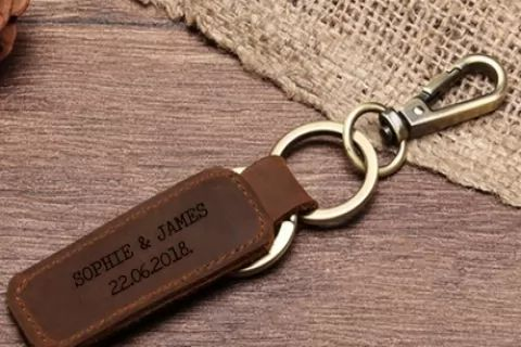 From $6 for One or Two Personalised Leather Keyrings: Small or Large (Don't Pay Up to...