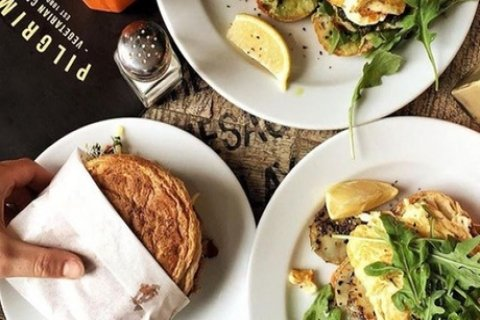 Vegetarian Brunch with Drink for One ($15), Two ($29) or Four People ($55) at Pilgrims...